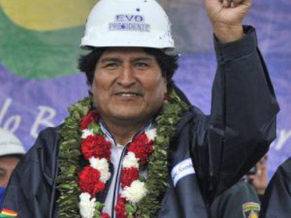 Evo Morales na inauguração de uma usina termoelétrica em Yacuiba, em 27 de setembro.