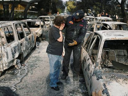 Os incêndios no entorno de Atenas, em imagens