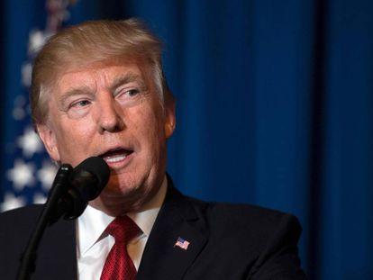 Donald Trump durante pronunciamento sobre o ataque à Síria.