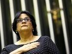 A ministra da Mulher, Família e Direitos Humanos, Damares Alves, participa de sessão solene em alusão ao Dia Nacional de Valorização da Família na Câmara dos Deputados, em 21 de outubro de 2019.