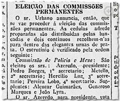 Reportagem do Correio da Manhã cita as urnas de prata do Senado em 1916