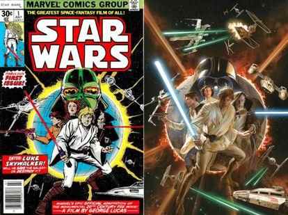 A capa original de Howard Chaykin e a adaptação moderna de Alex Ross.