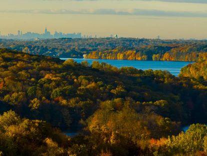 A cidade de Nova York, vista da estação biológica da Universidade de Fordham.