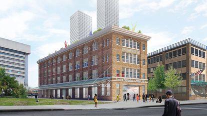 Reprodução digital do novo Centro Pompidou x Jersey City, que o museu francês abrirá nesta cidade de Nova Jersey em 2024. / OMA