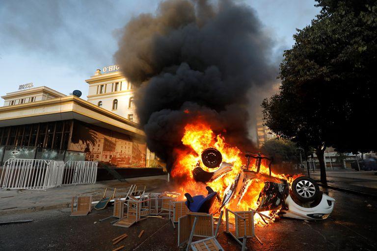 Protestos contra o Governo em Viña del Mar, Chile.