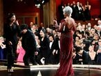 FILE PHOTO: Jane Fonda gives the Best Motion Picture Oscar statue to Kwak Sin Ae and Bong Joon Ho at the 92nd Academy Awards in Hollywood, Los Angeles, California, U.S., February 9, 2020. Richard Harbaugh/A.M.P.A.S./Handout via REUTERS ATTENTION EDITORS. THIS IMAGE HAS BEEN SUPPLIED BY A THIRD PARTY. NO MARKETING OR ADVERTISING IS PERMITTED WITHOUT THE PRIOR CONSENT OF A.M.P.A.S AND MUST BE DISTRIBUTED AS SUCH. MANDATORY CREDIT./File Photo/File Photo