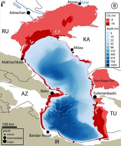 As zonas mais afetas estão no norte e leste (em vermelho), onde o mar Cáspio tem pouca profundidade.