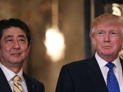 Os líderes de EUA e Japão no jantar na última segunda-feira, dia 13, no clube de Mar-a-Lago.