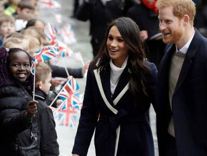 O príncipe Harry e Meghan Markle, em 8 de março