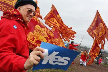 Nacionalistas venezianos participam de uma manifestação realizada em setembro pela independência da Escócia, em Edimburgo