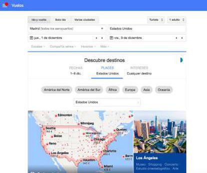 Tela do Google Flights, ferramenta para compra de passagens aéreas.