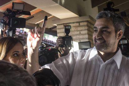 Mario Abdo Benítez, neste domingo após votar.