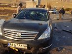 """A handout photo made available by Iran state TV (IRIB) on November 27, 2020, shows the damaged car of Iranian nuclear scientist Mohsen Fakhrizadeh after it was attacked near the capital Tehran. - The scientist died at the hospital from his injuries following an attack by """"armed terrorists"""", Iran's defence ministry said in a statement. (Photo by - / IRIB NEWS AGENCY / AFP) / RESTRICTED TO EDITORIAL USE - MANDATORY CREDIT - AFP PHOTO / HO / IRIB NEWS"""" NO MARKETING NO ADVERTISING CAMPAIGNS - DISTRIBUTED AS A SERVICE TO CLIENTS FROM ALTERNATIVE SOURCES, AFP IS NOT RESPONSIBLE FOR ANY DIGITAL ALTERATIONS TO THE PICTURE'S EDITORIAL CONTENT, DATE AND LOCATION WHICH CANNOT BE INDEPENDENTLY VERIFIED  - NO RESALE - NO ACCESS ISRAEL MEDIA/PERSIAN LANGUAGE TV STATIONS/ OUTSIDE IRAN/ STRICTLY NI ACCESS BBC PERSIAN/ VOA PERSIAN/ MANOTO-1 TV/ IRAN INTERNATIONAL /"""