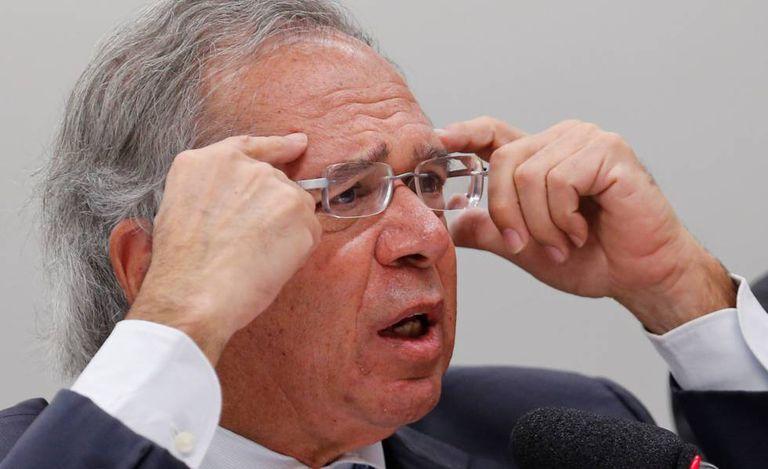 O ministro Paulo Guedes na Câmara, nesta terça.