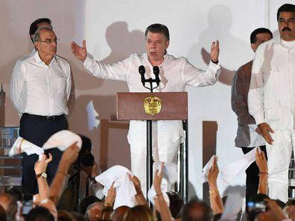 Juan Manuel Santos, durante seu discurso na assinatura dos acordos de paz em Cartagena de Índias.