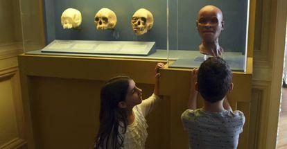 Crianças observam reconstrução do rosto de Luzia no Museu Nacional.