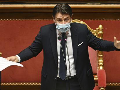 O primeiro-ministro italiano, Giuseppe Conte, durante seu discurso nesta terça-feira no Senado.