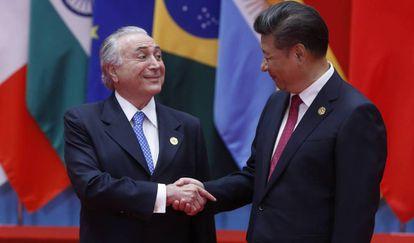 Michel Temer e Xi Jinping, na reunião do G-20