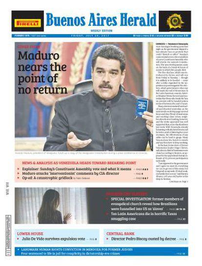Última capa do diário 'Buenos Aires Herald'.
