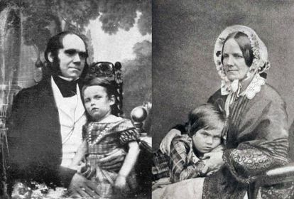 Montagem de uma foto de Charles Darwin e seu primogênito William, com sua mulher, Emma, abraçando Leonard.