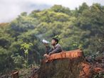 Un indígena guaraní fuma una pipa junto a un árbol talado por desarrolladores en Sao Paulo.