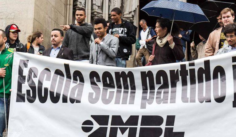 Ato do MBL a favor do Escola sem Partido, em agosto deste ano, em SP.