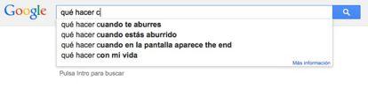 """Pesquisa do Google, em espanhol, que completa sozinho a frase """"o que fazer... se estiver entediado"""""""