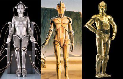 O robô Metrópolis (à esquerda); um dos primeiros desenhos de McQuarrie para C3PO (centro) e o androide final de Star Wars.