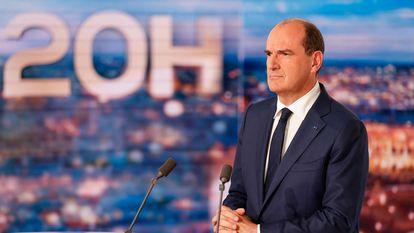 O primeiro-ministro francês, Jean Castex, durante seu pronunciamento na televisão.