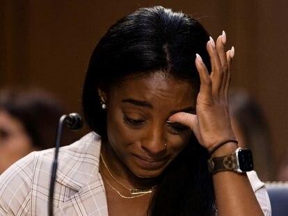 A ginasta Simone Biles, durante depoimento ao Senado dos EUA.