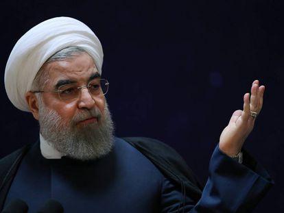 O presidente do Irã, Hassan Rouhani, num discurso em Teerã.