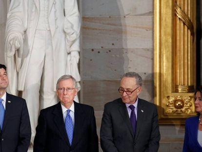 Os líderes republicanos e democratas esta semana no Congresso.