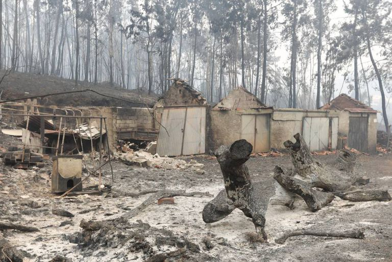 Várias casas danificadas pelo fogo em Nodeirinho, perto de Pedrógão Grande (Portugal).