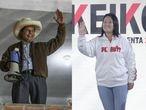 Los candidatos a la presidencia de Perú, Pedro Castillo y Keiko Fujimori, la noche de este domingo tras conocerse los primeros sondeos que arrojan un empate técnico.