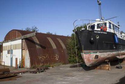 O barco em que Peter Madsen instalou sua última empresa.