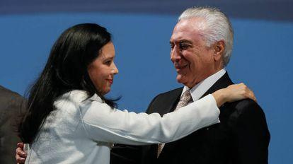 Grace Mendonça e Temer no dia 7 de março, em Brasília.