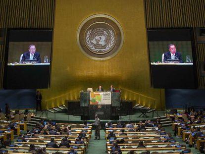O secretário geral das Nações Unidas, Ban Ki-moon, durante sua intervenção nesta terça-feira.