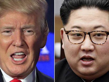 Donald Trump e Kim Jong-un em imagens de arquivo