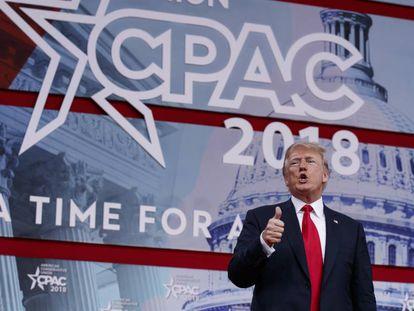 Donald Trump, durante seu discurso na Conferência de Ação Política Conservadora, na sexta-feira em Oxon Hill