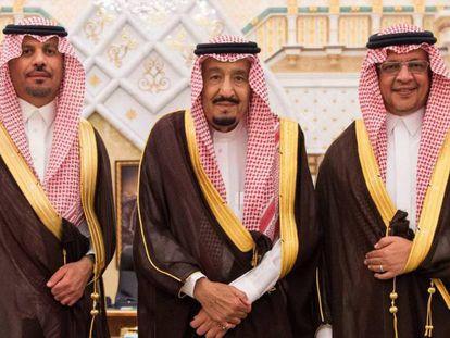 O rei Salman (centro) entre o ministro da Economia (esquerda) e o chefe da Guarda Nacional, na segunda-feira em Riad