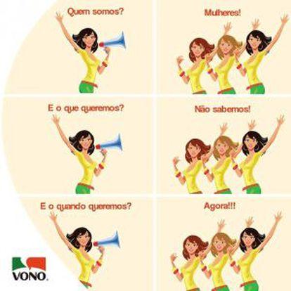 A campanha de Vono que foi retirada do ar após reclamações na fanpage da marca.