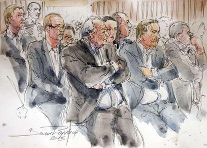 Strauss Kahn e outros acusados em desenho realizado no julgamento.