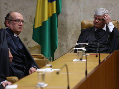 Rodrigo Janot e Gilmar Mendes, no STF.