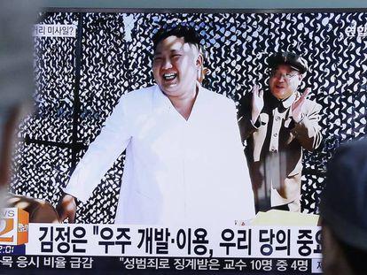 Kim Jong Un em um programa informativo de televisão.