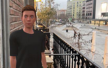 A realidade aumentada mostra Lucas na varanda de um apartamento em Madri.