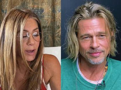 Jennifer Aniston e Brad Pitt, em videoconferência.