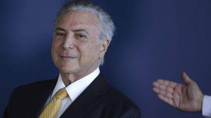 O presidente Temer durante a posse do novo diretor da PF.
