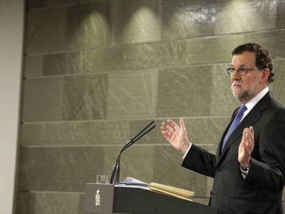 Mariano Rajoy numa entrevista coletiva depois de comunicar o Rei que não tem apoio suficiente para tomar posse.