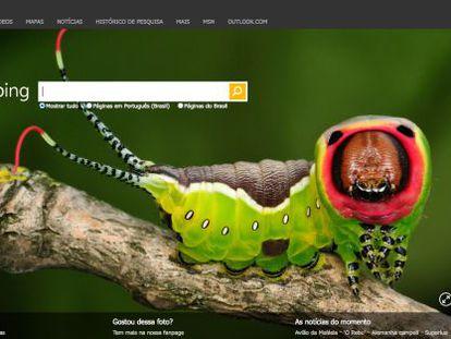 Tela inicial do Bing, o site de buscas da Microsoft.