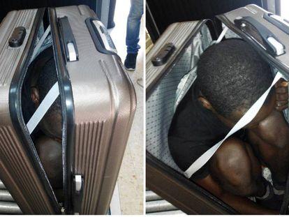 Os agentes da fronteira terrestre de Tarajal com o Marrocos notaram a atitude evasiva de uma jovem e solicitaram que ela abrisse a mala que carregava.
